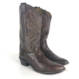 Justin Boots Buck Dark Brown Leather 1564 Sz 11D